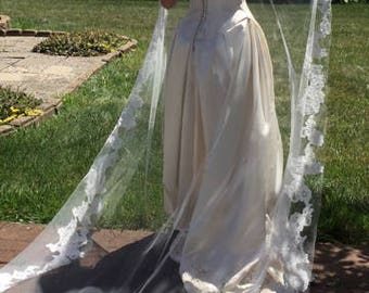 Mantilla Veil, Ivory wedding veil, Ivory Sequin lace, Lace applique on edge lightly accross front, Silver metal comb.