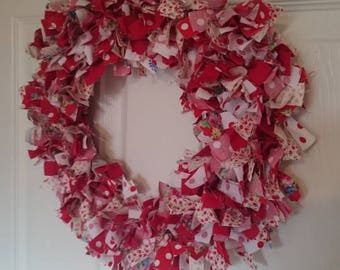Red and White Rag Wreath