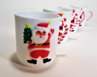 Children's Christmas Santa Cups Milk Cups Vintage Plastic Cups Baby's First Christmas Cup