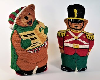 Needlepoint Teddy Bear and Toy Soldier Vintage from Estate Sale Standing Needlepoint Characters Stuffed Toys Free Shipping