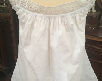 French Antique Hand Sewn White Cotton Top / Nightshirt / Crochet Neckline and Straps / Exquisite Tiny Hand Stitched Detailing / Monogrammed