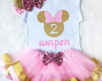 Minnie Mouse Birthday Outfit-2nd Birthday Shirt-Pink Gold Minnie Second Birthday - Minnie 2 Birthday - Personalized Minnie Birthday