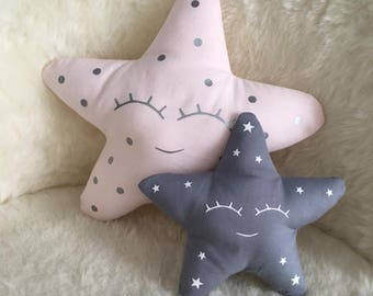 Child's room decoration - Set cushion Moon and Star for girl, pastel pink and gray - Sweet cushion for baby
