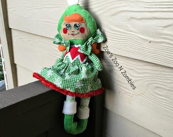 Handmade Enchanted Green Girl Elf Cloth Doll Play Christmas Scout Elves  Whimsical