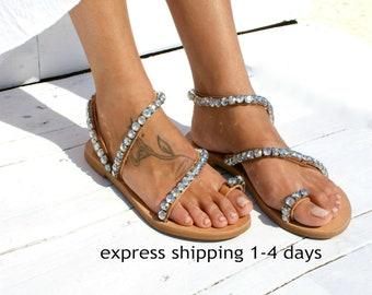 Wedding shoes/ Luxury leather sandals/ Bridal sandals/ Wedding sandal/ Handmade to order leather sandals/ Crystal sandals SORAYA