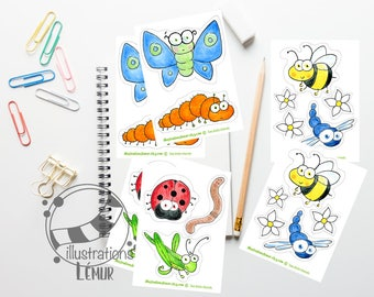Small reusable insects and little critters, bee, butterfly, ladybug wall decals, gifts, birthday, anniversary
