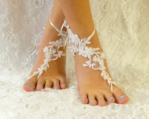 Barefoot sandals White, beach wedding barefoot sandals wedding, barefoot sandles, wedding barefoot sandals lace barefoot sandals