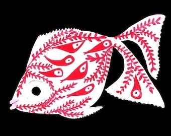 Fish porcelain painting original gouache/watercolor Japanese goldfish cabinet of curiosities collection 21.5 cm x 14 cm