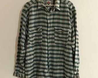 Vintage Mens Long Sleeve Flannel Shirt
