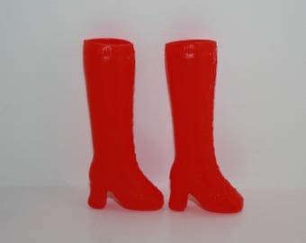 Vintage Tall Red Plastic Boots for Barbie Skipper Dolls Hong Kong