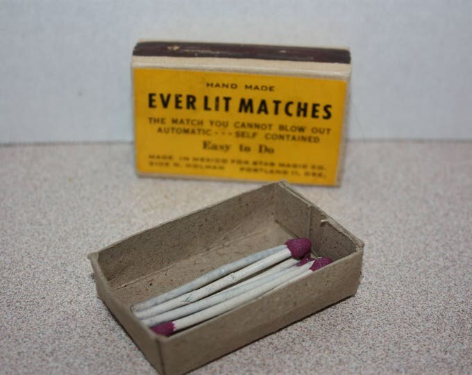 Vintage Hand Made Ever Lit Matches Magician Magic in original box