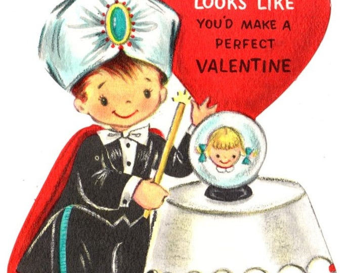 Vintage Magician with Crystal Ball Die-Cut Children's Classroom Valentine's Day Card UNUSED