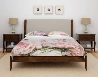 Pink Roses Duvet Cover, Pink Roses Bedding, Roses Duvet Cover, Roses Bedding, Photo Bedding