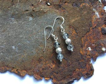 Turmalinquarz earrings with 925 silver elements