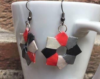 Origami paper stars earrings