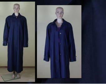 Navy Blue Coat Women's Trench Coat Vintage Dark Blue Coat Classic Raincoat Minimalist Coat Long Coat Outerwear Oversize Pad Shoulder Large
