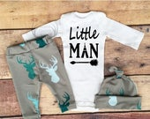 BIG HOLIDAY SALE-30% Baby Boy Coming home Outfit,Little Man,Newborn Boys,Deer Outfits,Country Outfit,Boys Outfit,Light Blue,Gray,White Deer