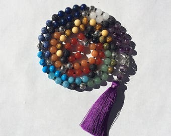 Chakra Mala 108 Prayer Beads Necklace