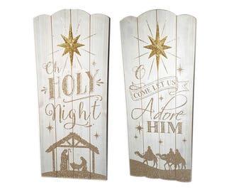 "Nativity Christmas Wood Sign Wall Decor. White Nativity, 23.5""H"