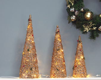 LED Lighted Christmas Cone Trees pre-lit Gold, decorated with  berries 3 Asst 24""