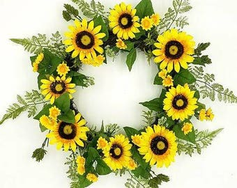 Spring Sunflower wreath, 24""