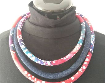 """necklace """"Djibouti"""" MULTISTRAND African fabric and denim"""
