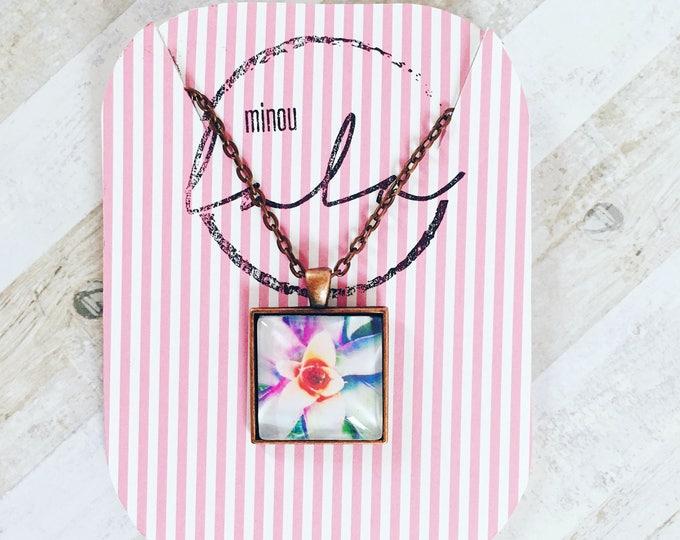 Floral photo pendant, vintage copper plated necklace
