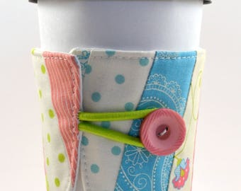 Reusable Coffee Sleeve- pink, white with a little blue and green