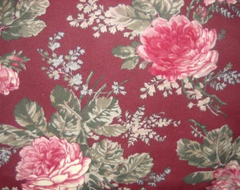 Cotton Flannel Faye Liverman Burgos Marcus Brothers Deep  Wine Dusty Pink Flowers Hard To Find Retired VHTF OOP Out Of Print by the yard
