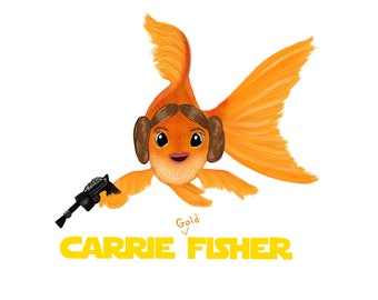 A punny tribute to Carrie Fisher in Star Wars - Print/Poster - Carrie Goldfisher