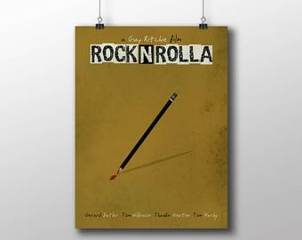 Movie poster print,Rock and Rolla-alternative movie poster print,Minimal film art,Guy Ritchie,Printable Files,Film poster,Instant Download