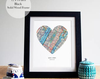 Heart Map Art, Map Heart, Heart Map Print,Personalized Map Framed, Personalized Map Gift,New Home Map Gift, Wood Framed, 14 x 12 inches