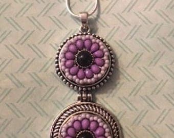 Sale! Choose from Either Purple Beaded or White Flower 18mm Snaps on Your Double Drop Necklace!  Chain is Included