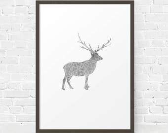 Deer Printable, Geometric Print, Christmas Decor, Christmas Wall Art, Reindeer Print, Geometric Deer Art, Winter Decor, Scandinavian Print