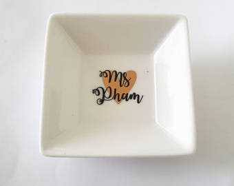 Custom Personalized Jewelry Ring Dish for Home Kitchen Bedroom Use for Bride To Be Newleywed Bridal Gift