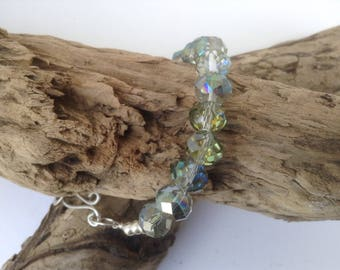 Swarovski crystal and sterling silver bead bracelet with hand made hammered clasp