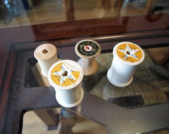 4 Vintage Wooden Spools