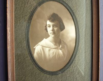 Antique Sepia Tone Photograph of a Young Woman in the Original Frame and Mat