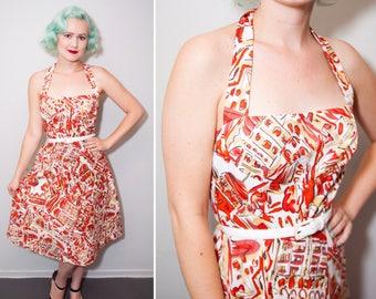 50's Style European City Travel Novelty Print Halter Dress | Shelf Bust | Full Skirt | Size Medium