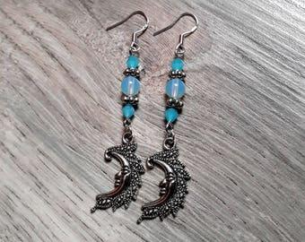 "Earrings 925 Silver hooks ""Ashes of the Moon"", Moonstone, moonstone, Swarovski Crystal, pagan, beads"