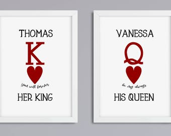 Her King - his Queen set 2, print, unframed
