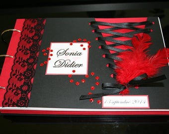 Book with gold Corset Cabaret feathers black and Red 70 pages