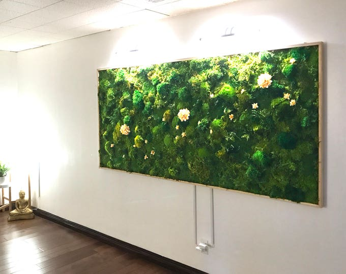 "Moss Wall Art ~ Moss Art Work ~ REAL Preserved Moss ~ No Maintenance Required Moss ""Living"" Wall ~ 96""x40"" ~ ""Lotus"""