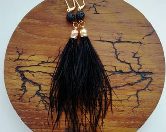 Earrings with feathers, Ostrich feather earrings, Feather earrings, Black earrings, Balck ostrich feather earrings