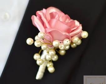 Wedding Mens Boutonniere Buttonhole Boutonnieres Wedding Grooms Boutonniere Roses Boutonniere Pink Boutonniere Rose Gold Pearls Boutonniere