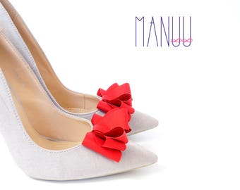 Red bow shoe clips - bow shoe clips Manuu, Wedding accessory, Bridal shoes, shoe clips women,