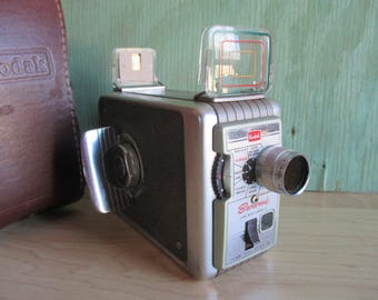 Kodak Brownie II 8mm Movie Camera with Leather Case, Vintage Home Movie Camera, 13mm f/2.3 Lens