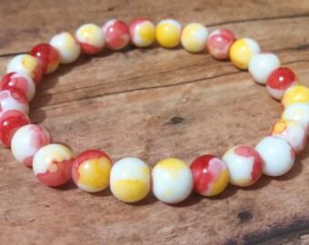Watercolor beaded bracelet, tie dye bracelet, stretch bracelet, elastic bead bracelet, spring bracelet, stack bead bracelet, pink bracelet