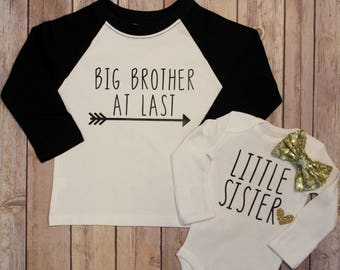 Big Brother, Little Sister, Big Brother Shirt, Little Sister Bodysuit, Sibling Shirts, Pregnancy Announcement, New Baby Announcement