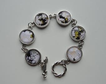 Black and yellow floral cabochon bracelet